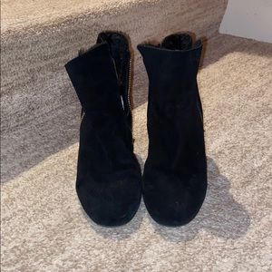 Adorable black wedge booties
